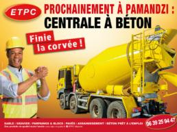 centrale beton prochainement pamandzi affiche publicitaire